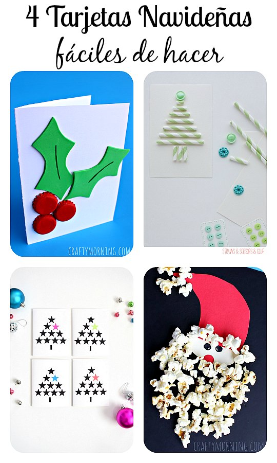 4 Tarjetas de Navidad fáciles de hacer