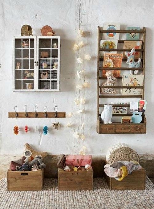 Tendencias decoración infantil: guarda los juguetes en cajas de madera