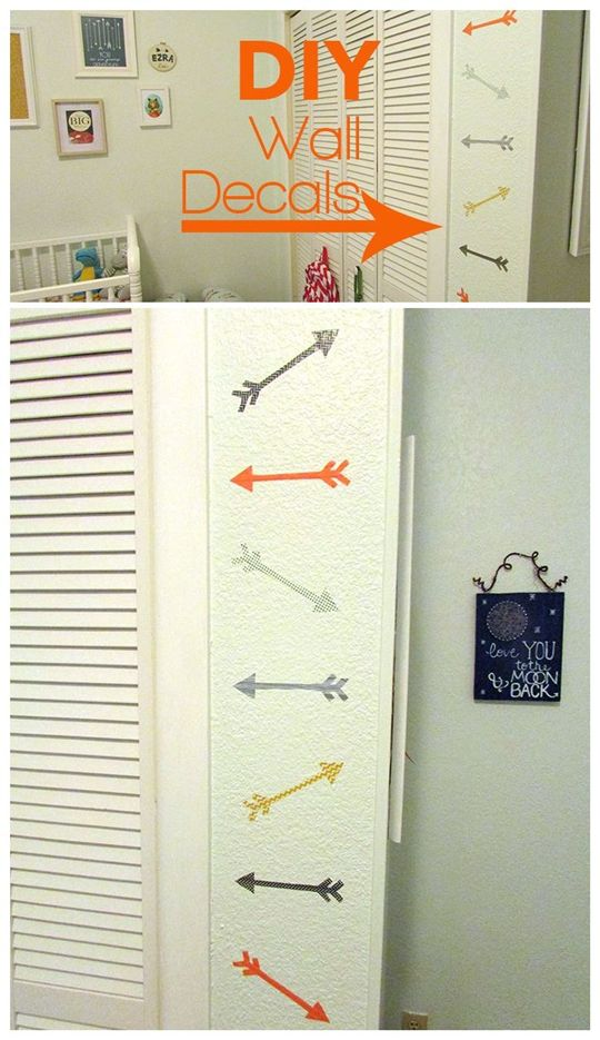 Decorar las paredes con flechas de washi tape
