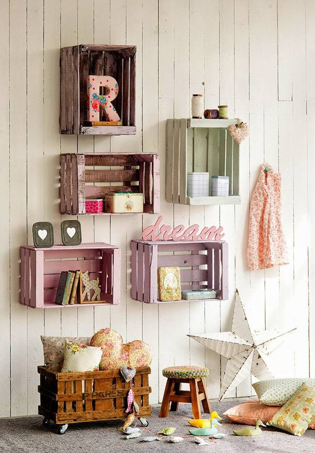Ideas para decorar con cajas de frutas la pared