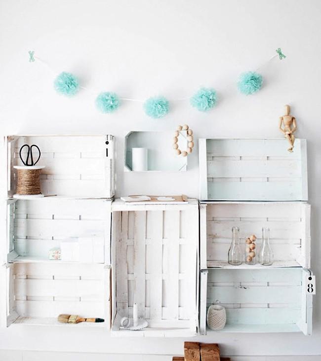 Ideas para decorar con cajas de frutas: estanteria