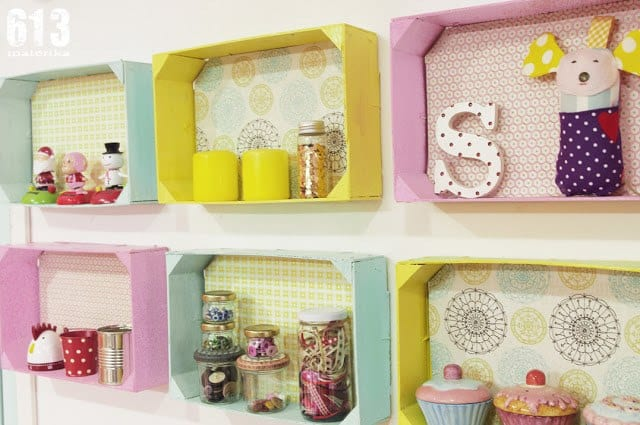 Ideas decorativas con cajas de frutas - Estanterias originales de pared ...