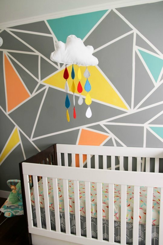 Decoracion infantil y juvenil bebes y ni os decoideas net Painting geometric patterns on walls
