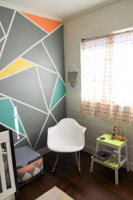 Tendencia decoraci n beb s geom trica decoideas net Painting geometric patterns on walls