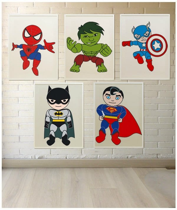 L minas de superheroes para decorar - Laminas de pared ...