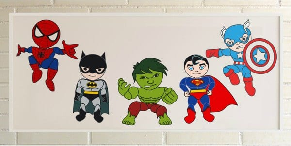 L minas de superheroes para decorar decoideas net - Laminas infantiles para enmarcar ...
