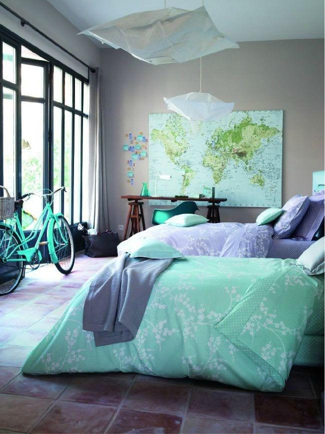 8 habitaciones en gris y turquesa decoideas net - Color turquesa en paredes ...