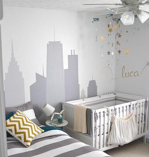 Habitaci n compartida con cama y cuna decoideas net for Decorar habitacion nino y nina juntos