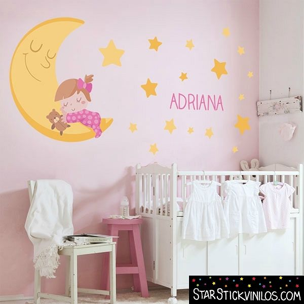 Vinilo luna y estrellas para beb s decoideas net ideas for Vinilos para pared de ninos