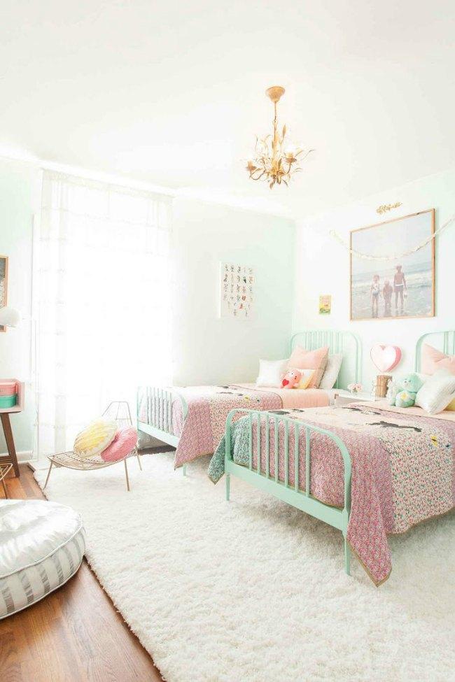 8 Habitaciones para niña en rosa y verde pastel