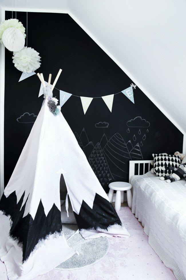 Habitaciones infantiles con pintura de pizarra