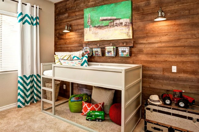 Dormitorios infantiles con paredes de madera - Revestimientos de madera para paredes ...