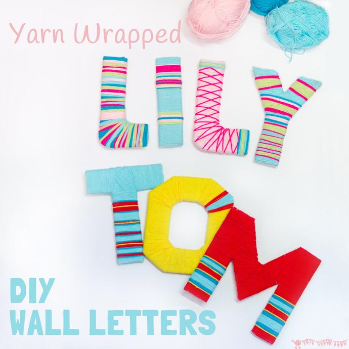 Letras de cartón decoradas con lana