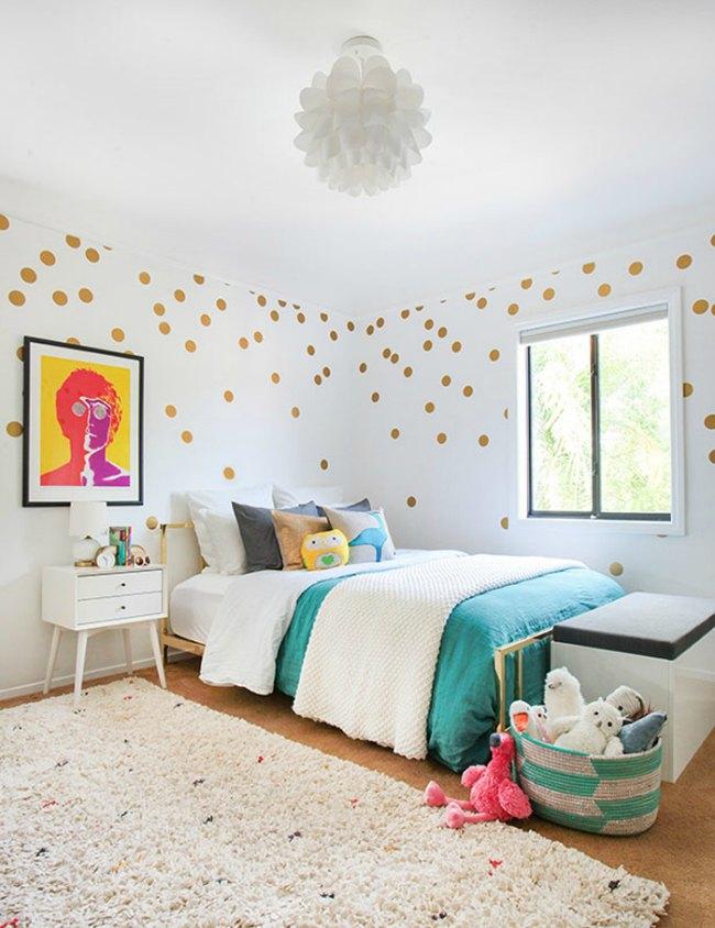 Habitaciones infantiles con lunares decoideas net - Vinilos lunares dorados ...