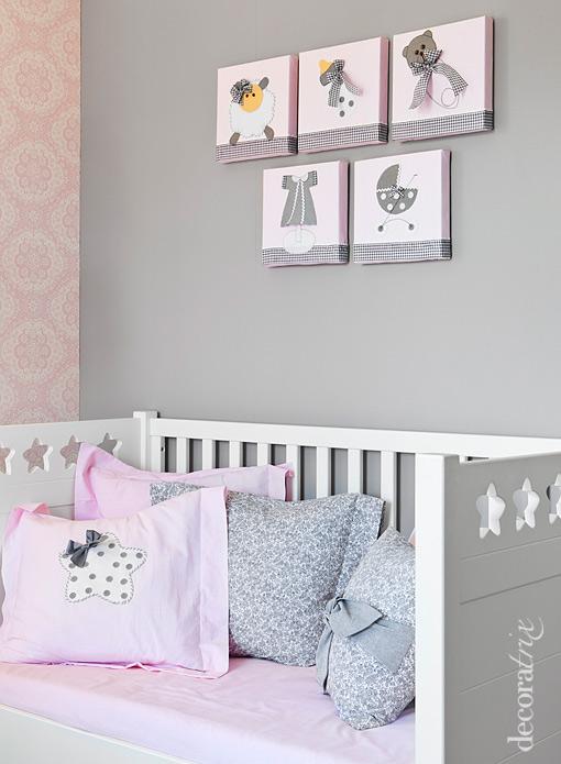 Cuadros infantiles hechos con telas for Decoracion habitacion nina gris y rosa