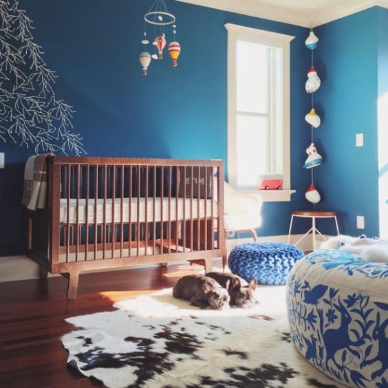 habitaciones de color azul para bebes
