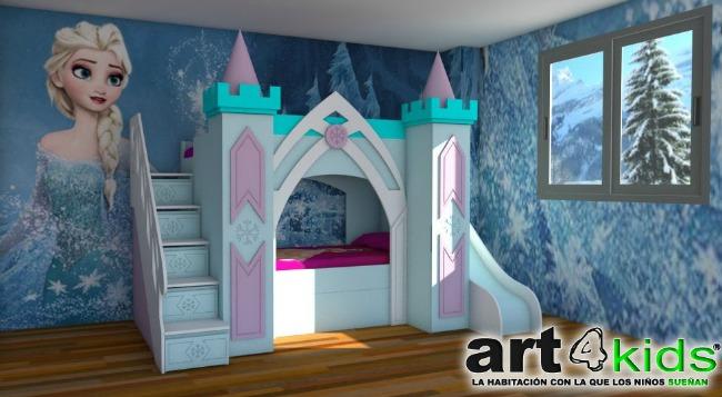 Cama castillo elsa decoraci n infantil for Habitaciones para ninas frozen