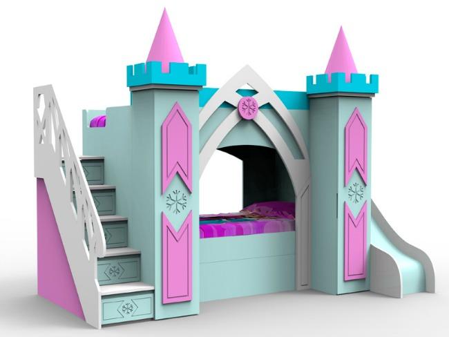 Cama castillo elsa decoraci n infantil for Cuartos para ninas frozen