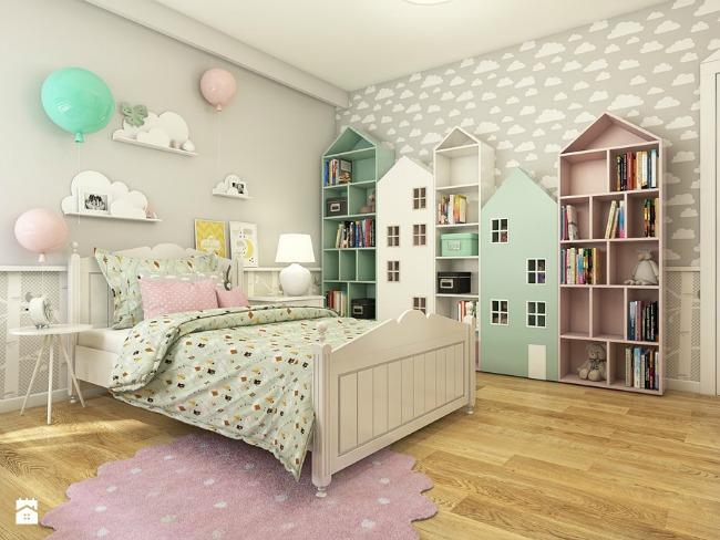 Habitaci n infantil estilo escandinavo for Estanteria pared infantil