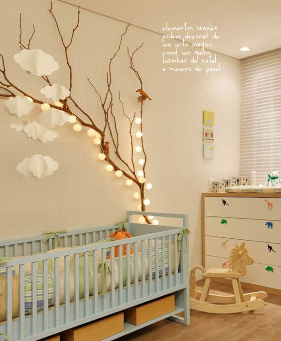 Dormitorios infantiles decorados con ramas decoideas net for Decoration plafond chambre bebe