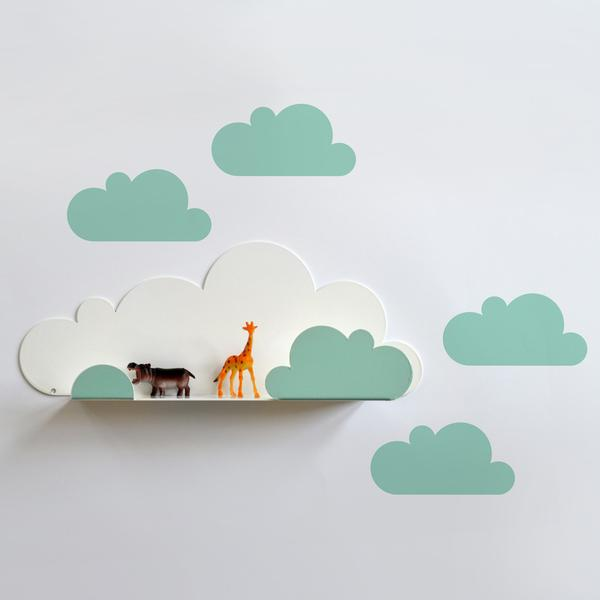 5 estanter as con forma de nube decoraci n infantil for Estanteria pared infantil