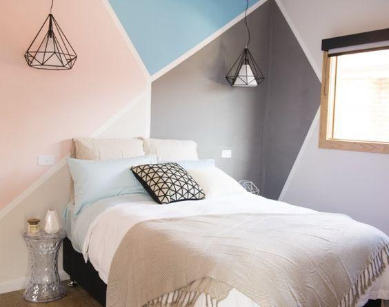 Habitaciones juveniles con paredes geométricas
