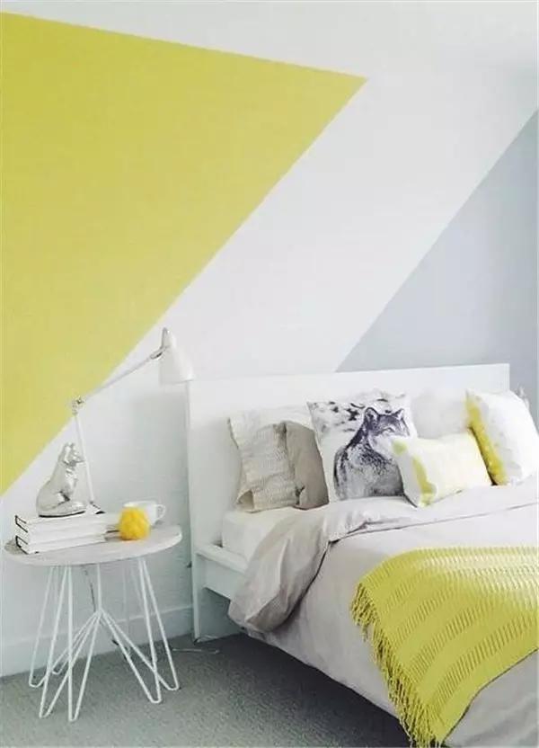 10 habitaciones juveniles con paredes geom tricas for Pared de habitacion decorada