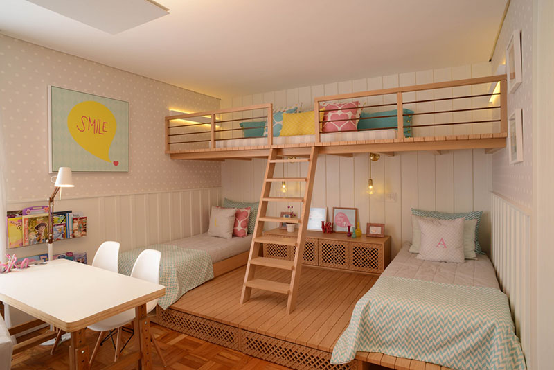 Habitación con dos camas para niñas