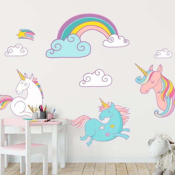 Vinilos unicornios para decorar las habitaciones infantiles for Vinilos para habitaciones de ninas
