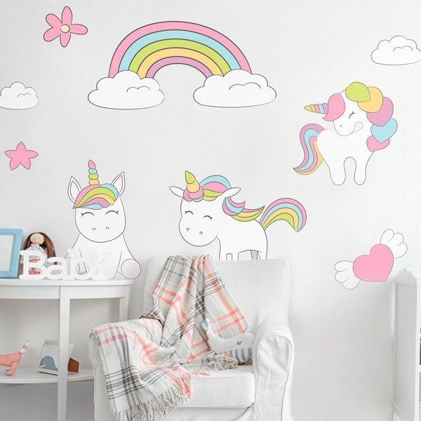 vinilos unicornios para decorar las habitaciones infantiles