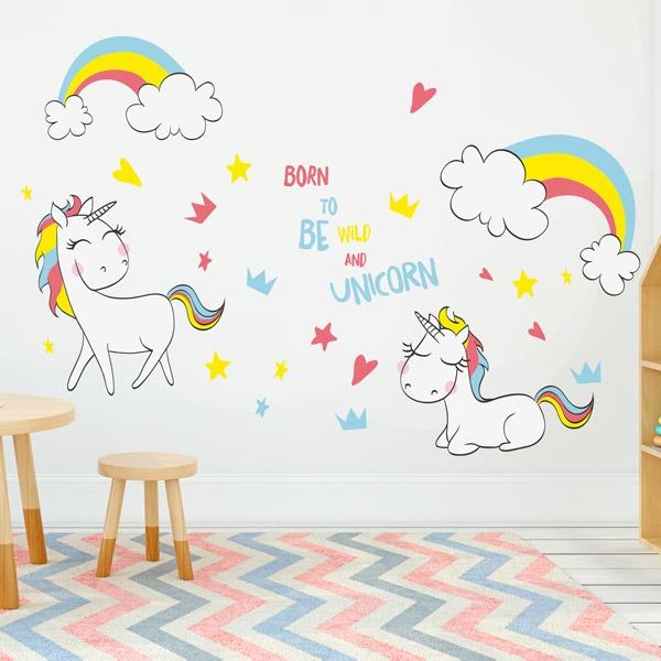 Vinilos unicornios para decorar las habitaciones infantiles for Decoracion para la pared de unicornio