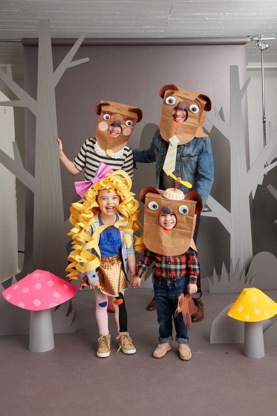 Disfraz familia bolsa papel