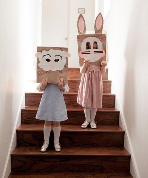 Máscaras con bolsas de papel