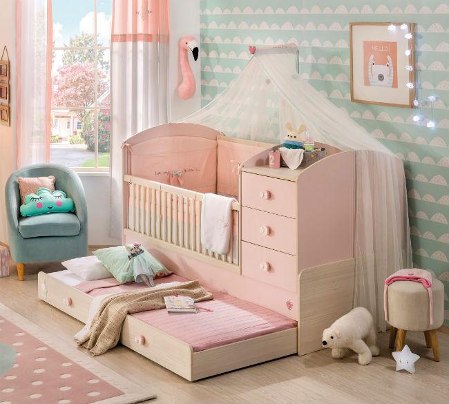 Baby Girl cuna con cama extra
