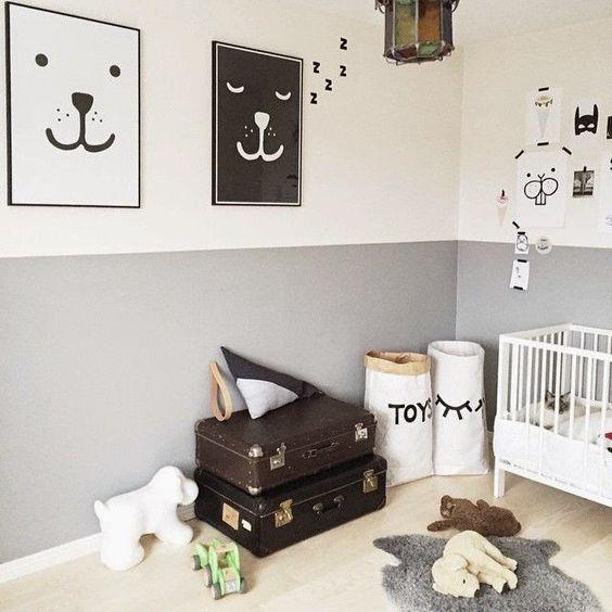 Ideas para pintar la habitaci n del beb en dos colores - Paredes pintadas de dos colores ...