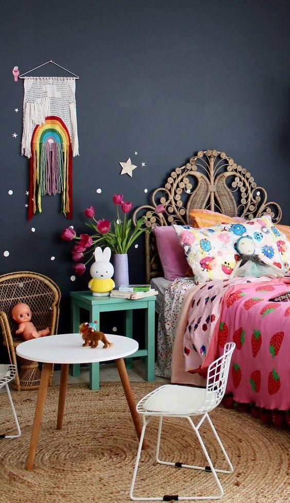 Habitación infantil decorada con lunares