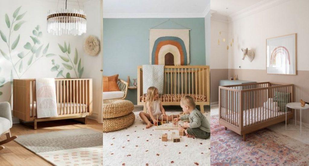 Ambientes de bebé con cuna de madera natural