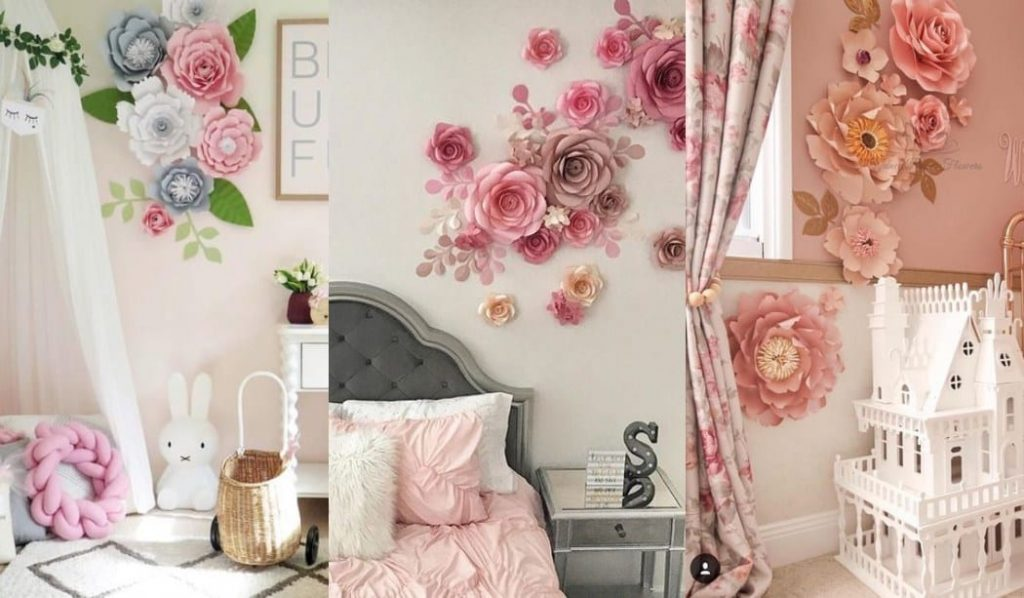 Flores de papel para decorar una pared infantil
