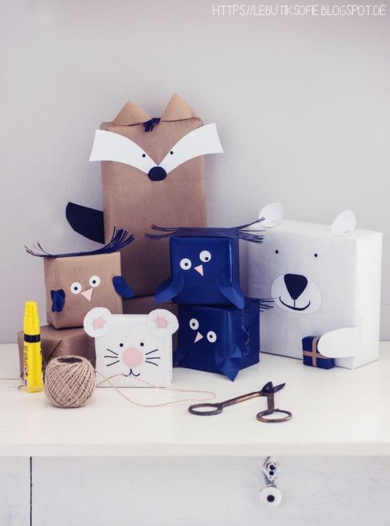 envolver regalos en forma de animales