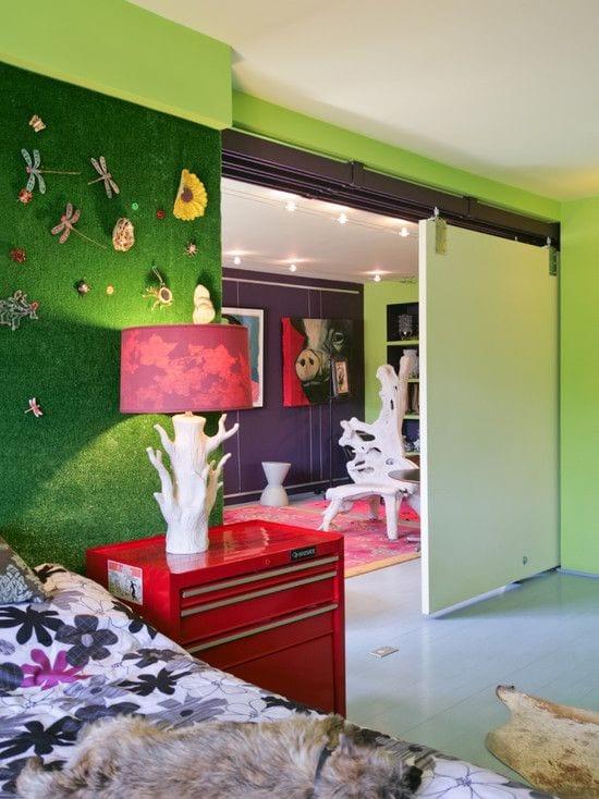 Césped artificial decoración pared