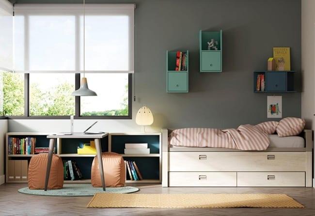 Regla de los tres espacios en dormitorios juveniles