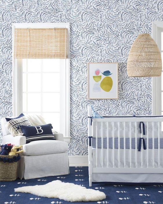 Habitación bebé en blanco y azul