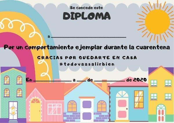 Diploma quedate en casa para niños