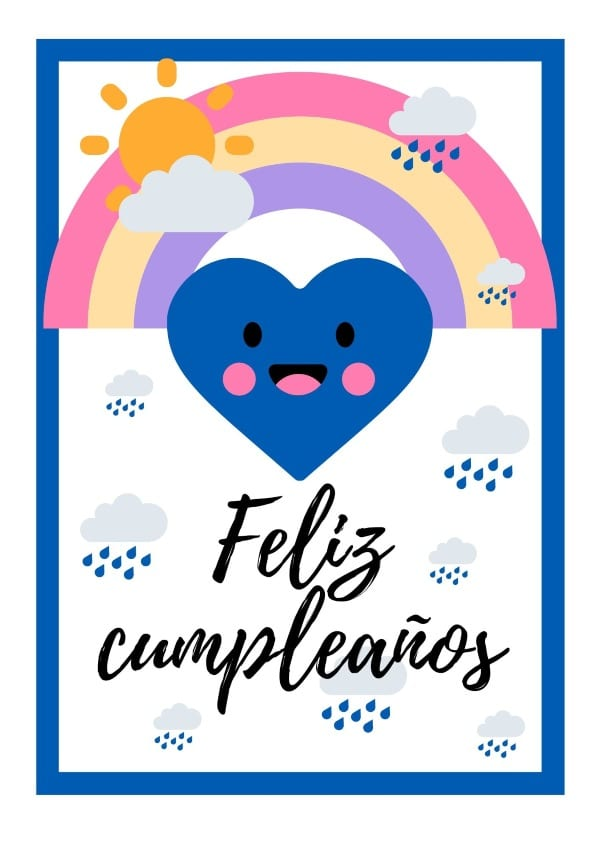 Cartel feliz cumpleaños arcoiris