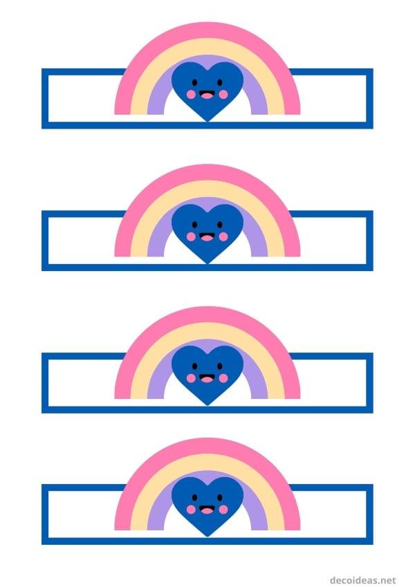 Etiquetas botellas Arcoiris para imprimir