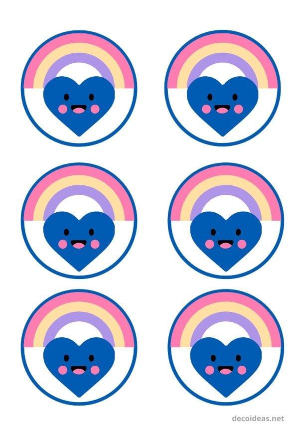 etiquetas redondas Arcoiris para imprimir