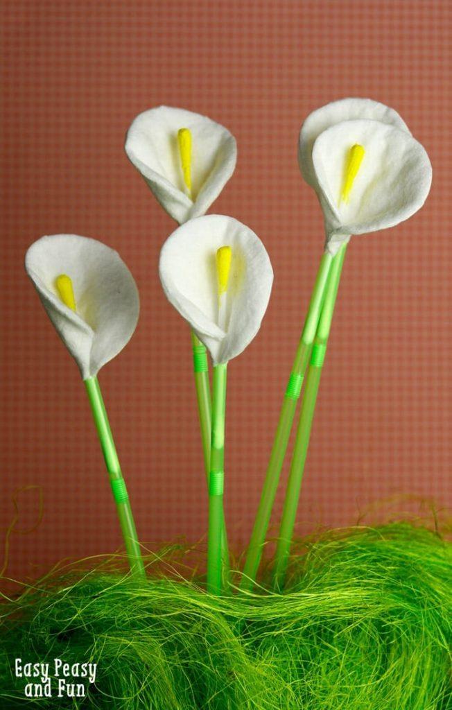 Manualidades ramo flores algodón