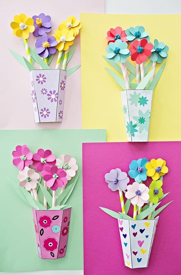 Manualidades ramos de flores dia de la madre