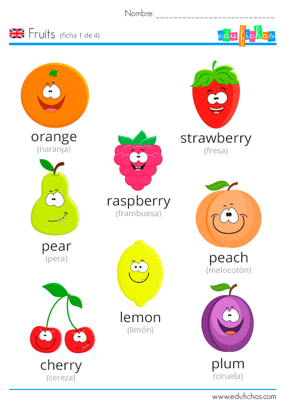 Ficha frutas en inglés