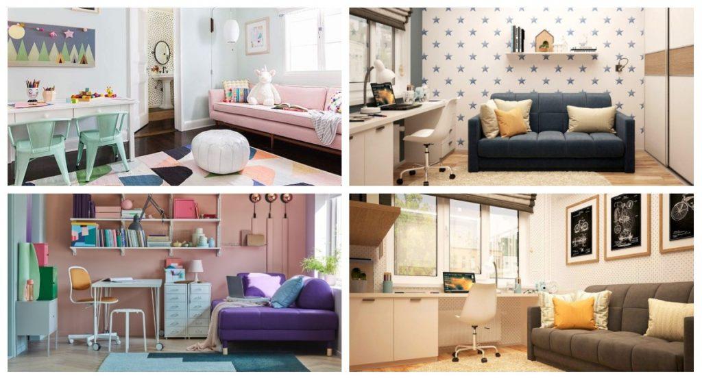Habitación de estudio con sofá cama